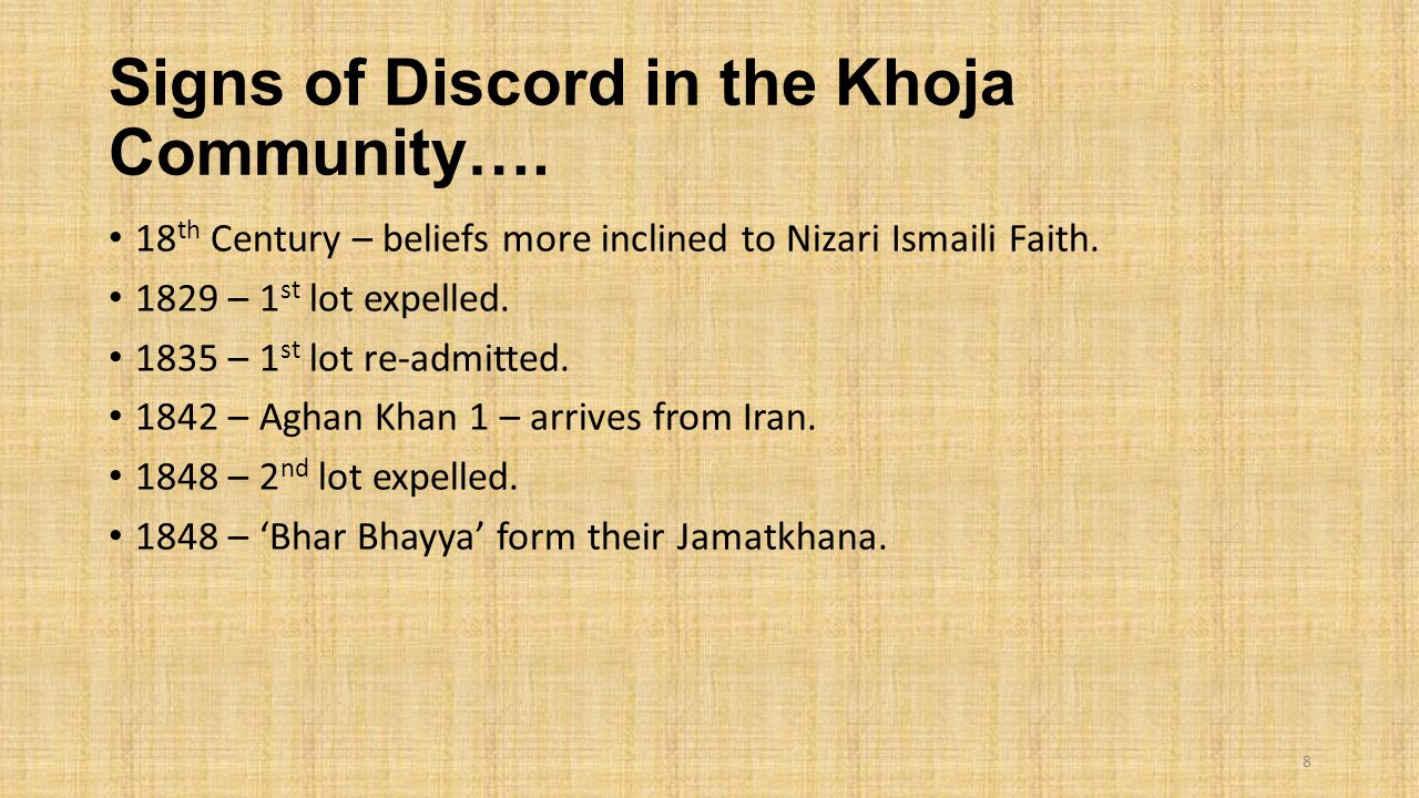 Signs of Discord in the Khoja Community….