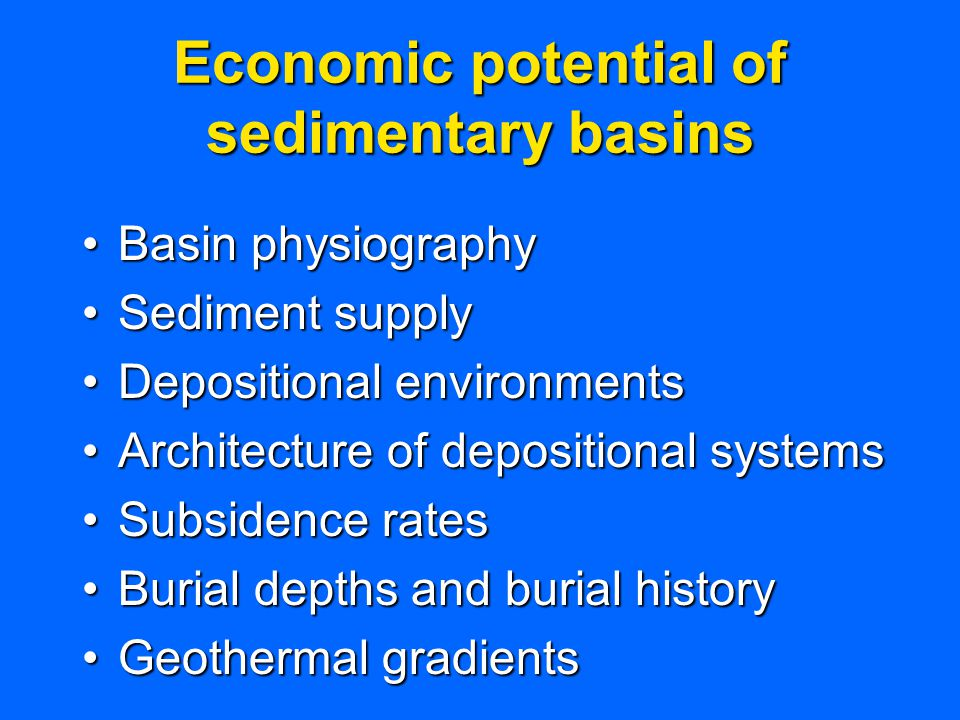 Economic potential of sedimentary basins