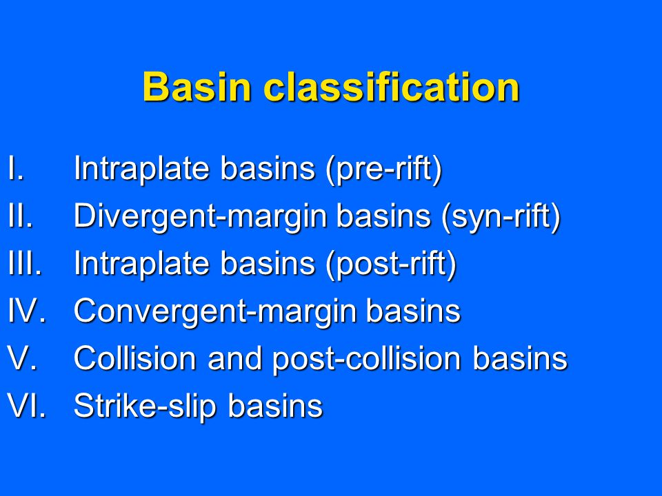 Basin classification Intraplate basins (pre-rift)