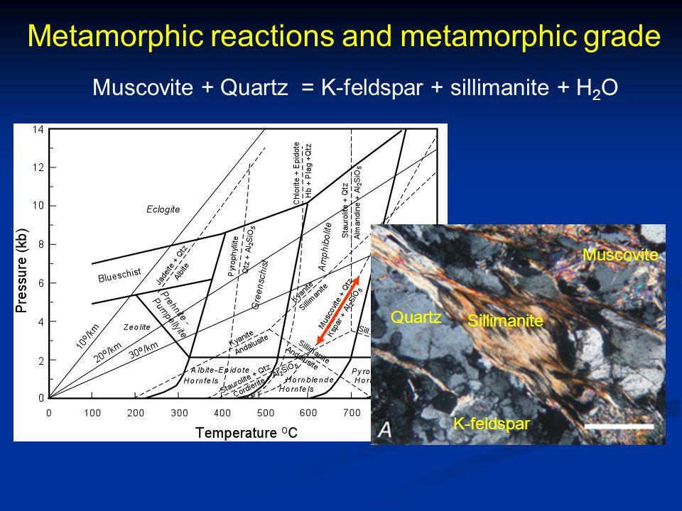 Metamorphic reactions and metamorphic grade