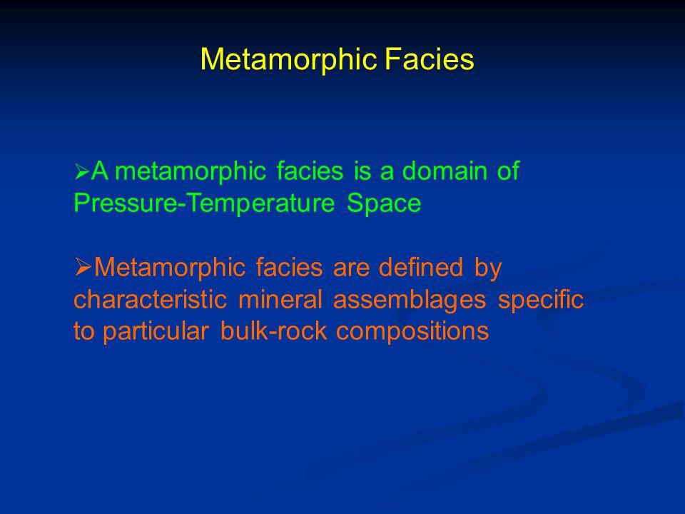 Metamorphic Facies A metamorphic facies is a domain of Pressure-Temperature Space.