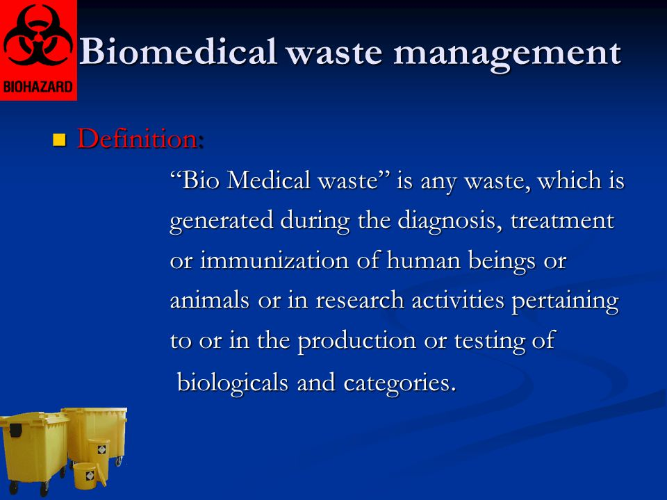 research project on biomedical waste management