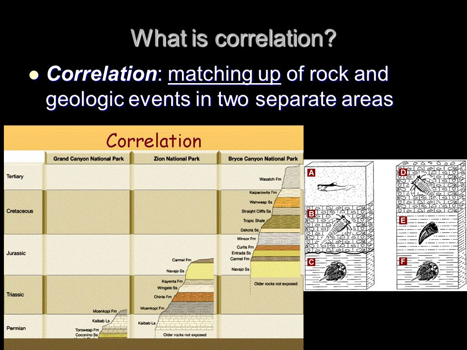 What is correlation Correlation: matching up of rock and geologic events in two separate areas