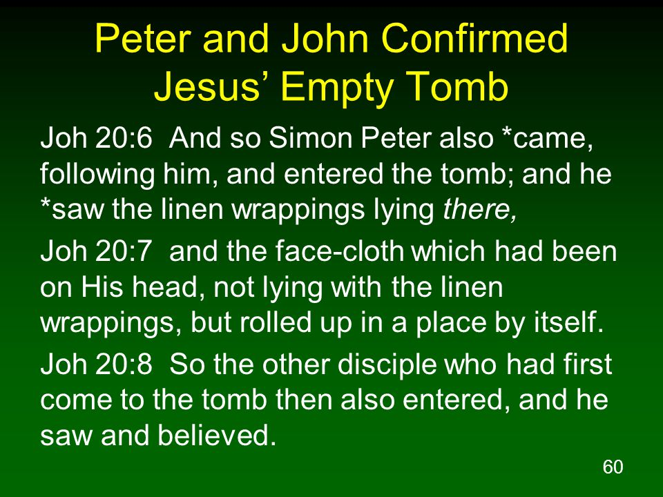 Peter and John Confirmed Jesus' Empty Tomb