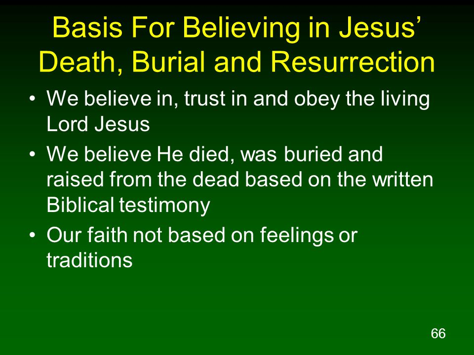 Basis For Believing in Jesus' Death, Burial and Resurrection