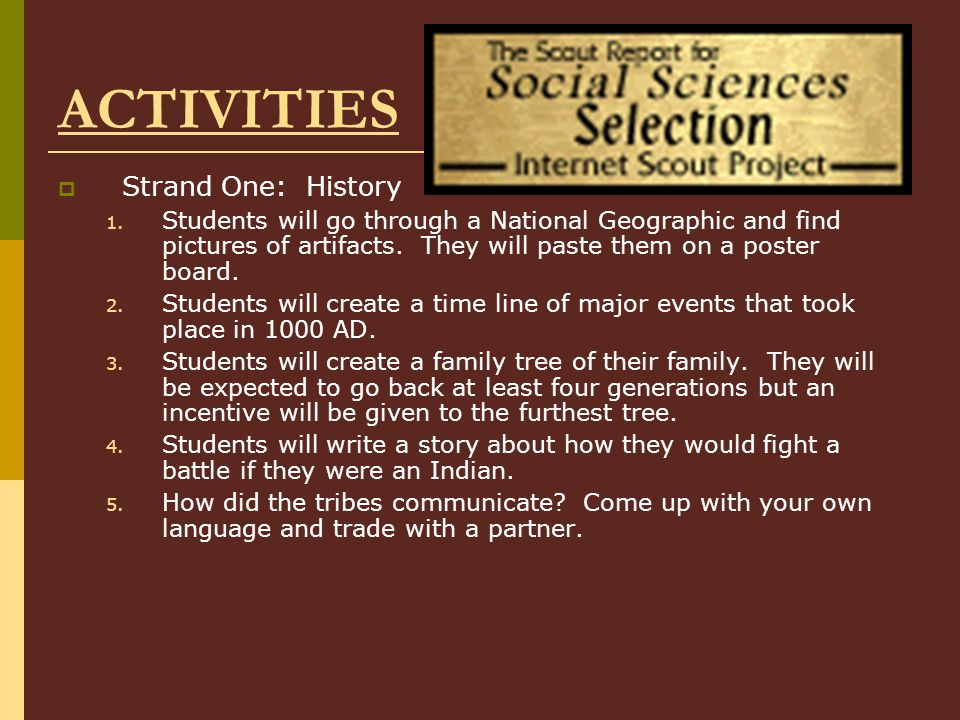 ACTIVITIES Strand One: History