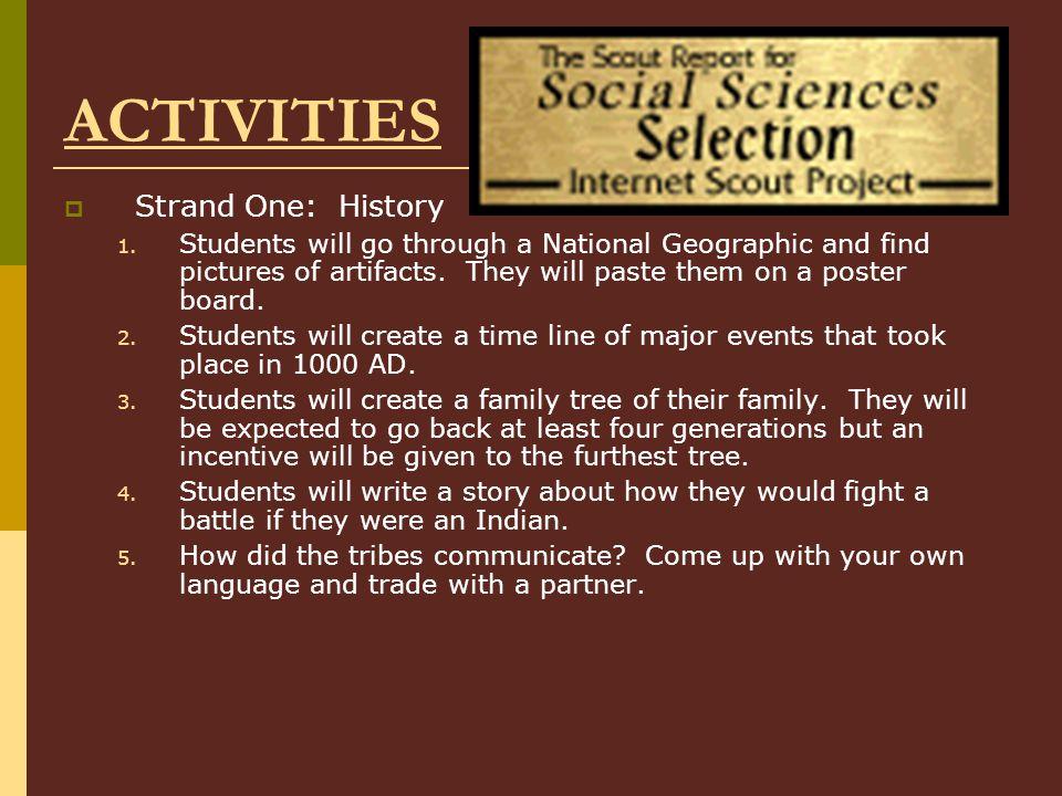ACTIVITIES Strand One: History