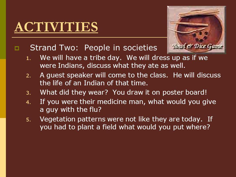 ACTIVITIES Strand Two: People in societies