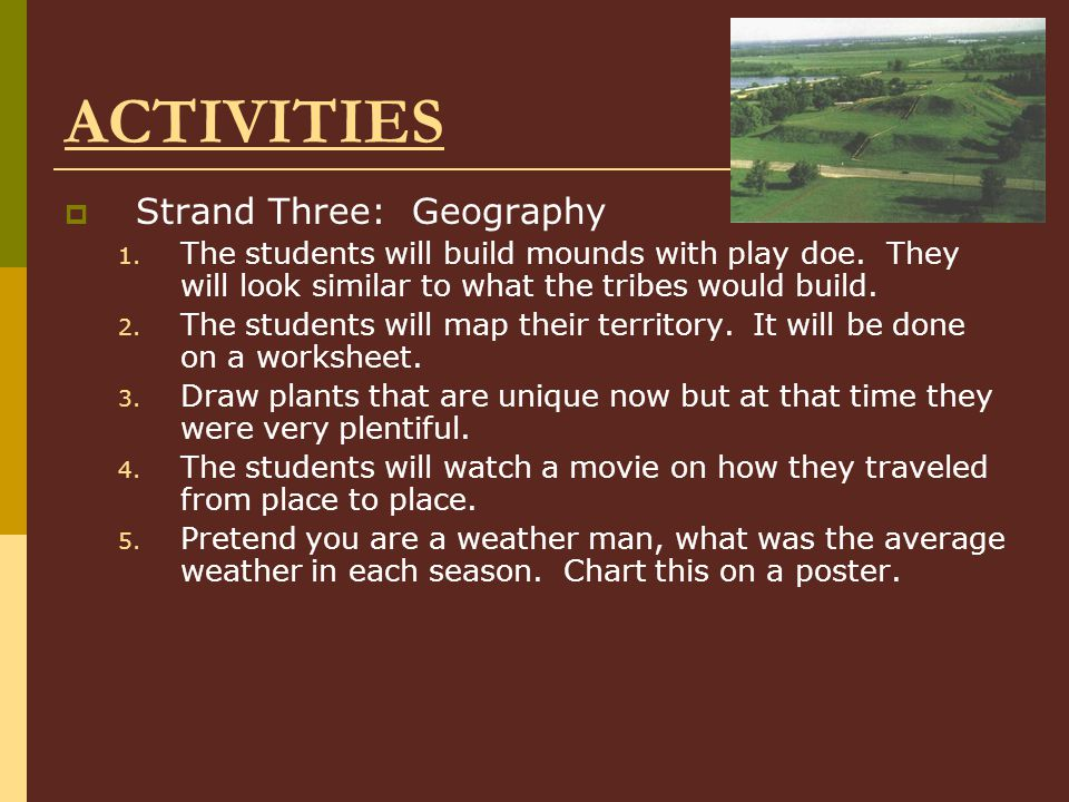 ACTIVITIES Strand Three: Geography