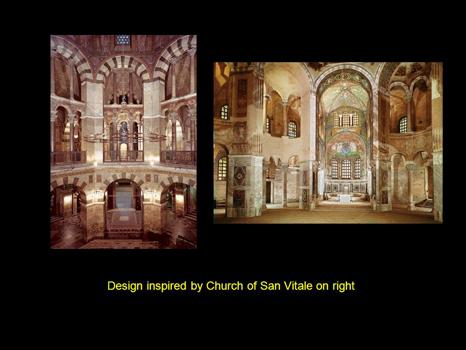 Design inspired by Church of San Vitale on right