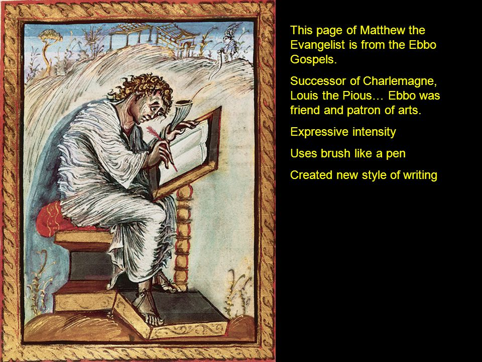 This page of Matthew the Evangelist is from the Ebbo Gospels.