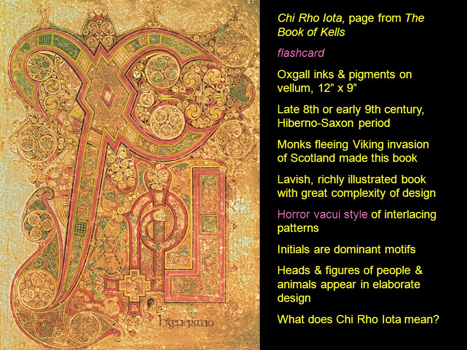 Chi Rho Iota, page from The Book of Kells flashcard