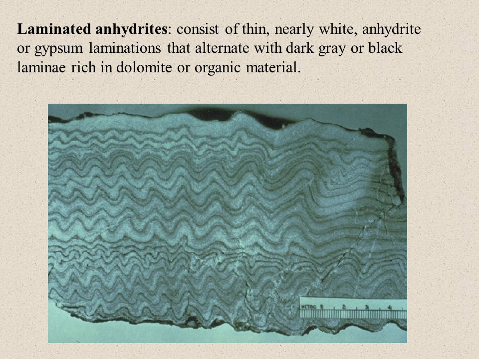 Laminated anhydrites: consist of thin, nearly white, anhydrite or gypsum laminations that alternate with dark gray or black laminae rich in dolomite or organic material.