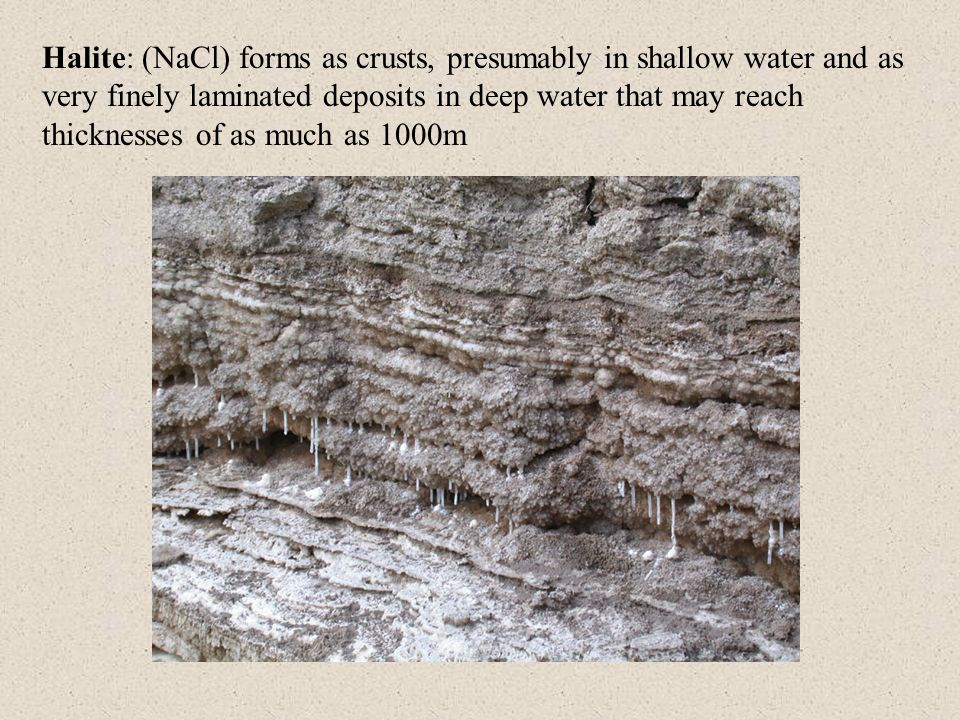 Halite: (NaCl) forms as crusts, presumably in shallow water and as very finely laminated deposits in deep water that may reach thicknesses of as much as 1000m