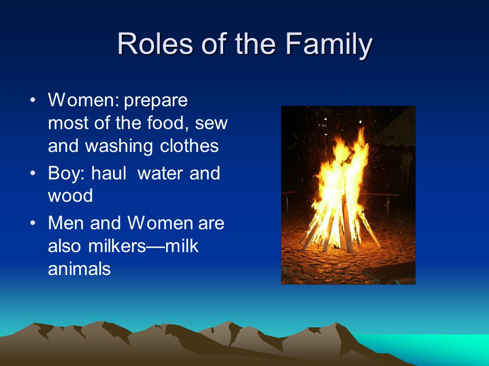 Roles of the Family Women: prepare most of the food, sew and washing clothes. Boy: haul water and wood.