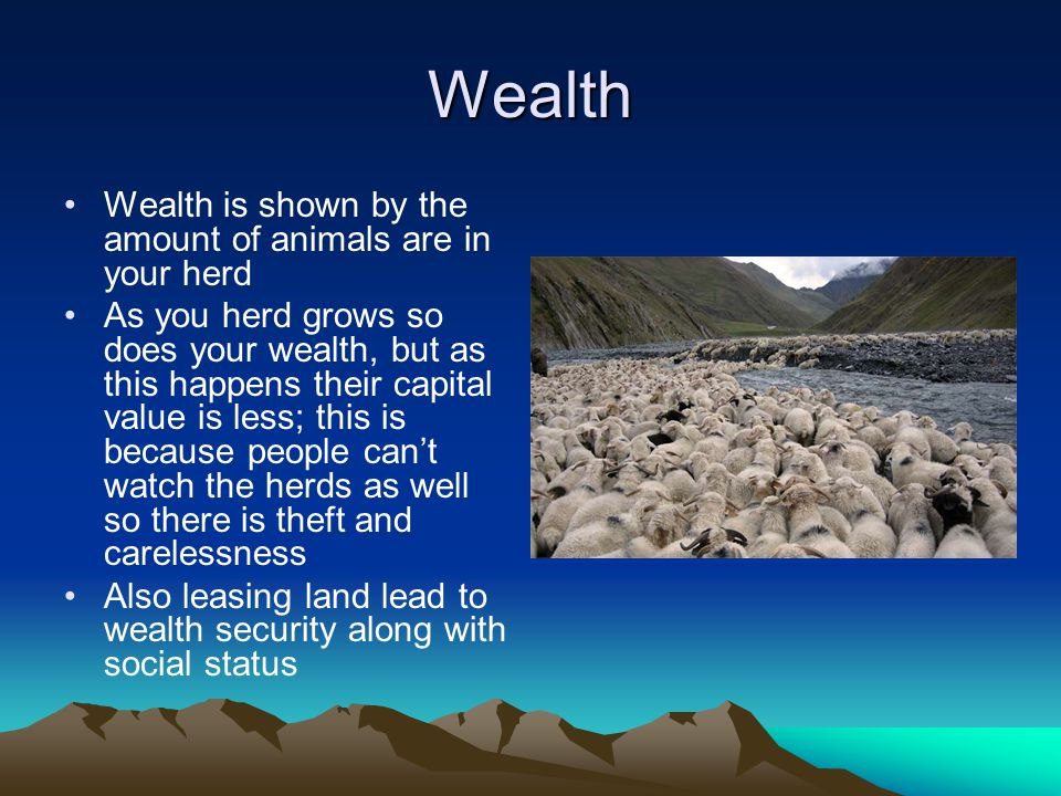 Wealth Wealth is shown by the amount of animals are in your herd