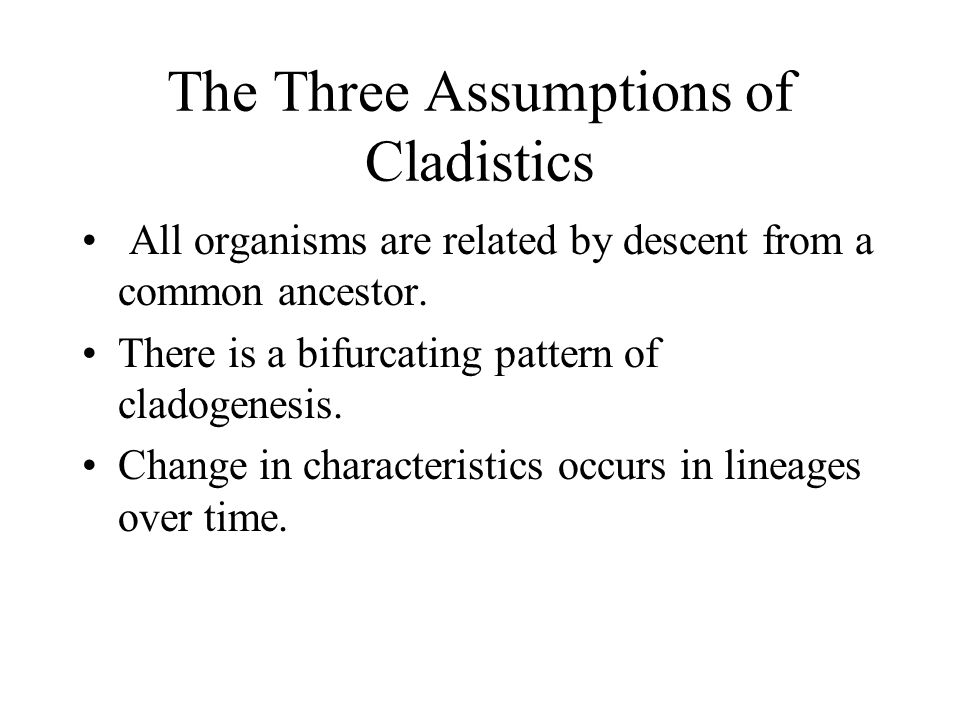 The Three Assumptions of Cladistics