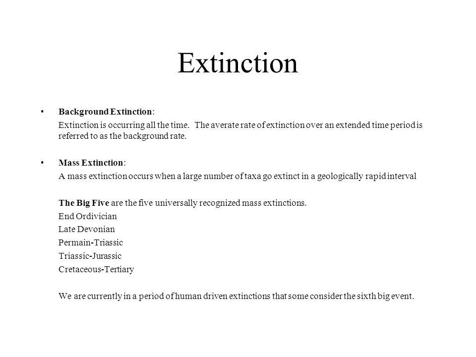 Extinction Background Extinction: