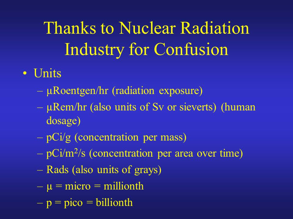 Thanks to Nuclear Radiation Industry for Confusion