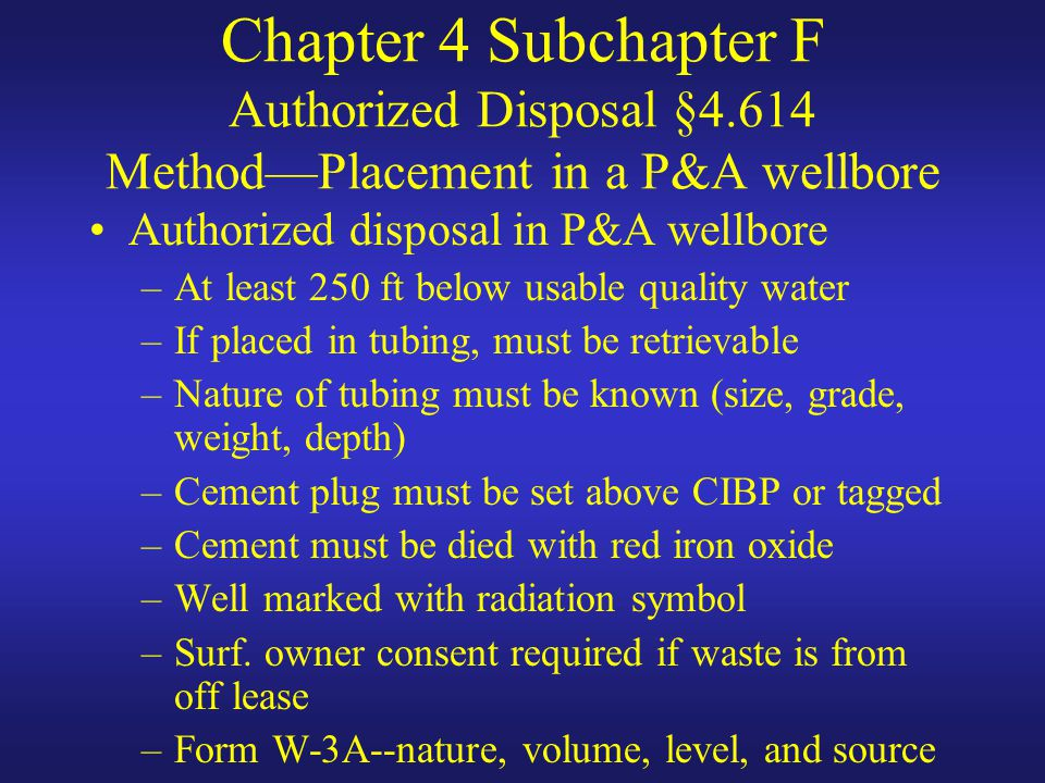 Chapter 4 Subchapter F Authorized Disposal §4
