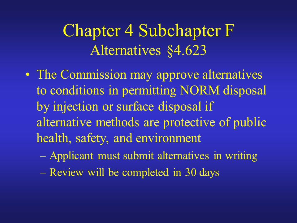 Chapter 4 Subchapter F Alternatives §4.623