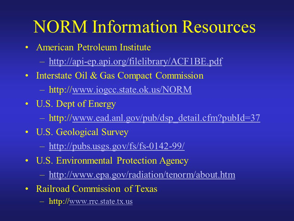 NORM Information Resources