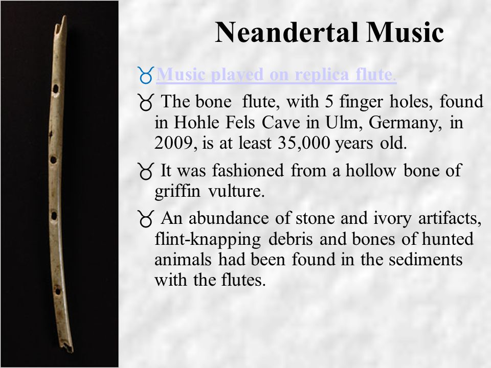 Neandertal Music Music played on replica flute.