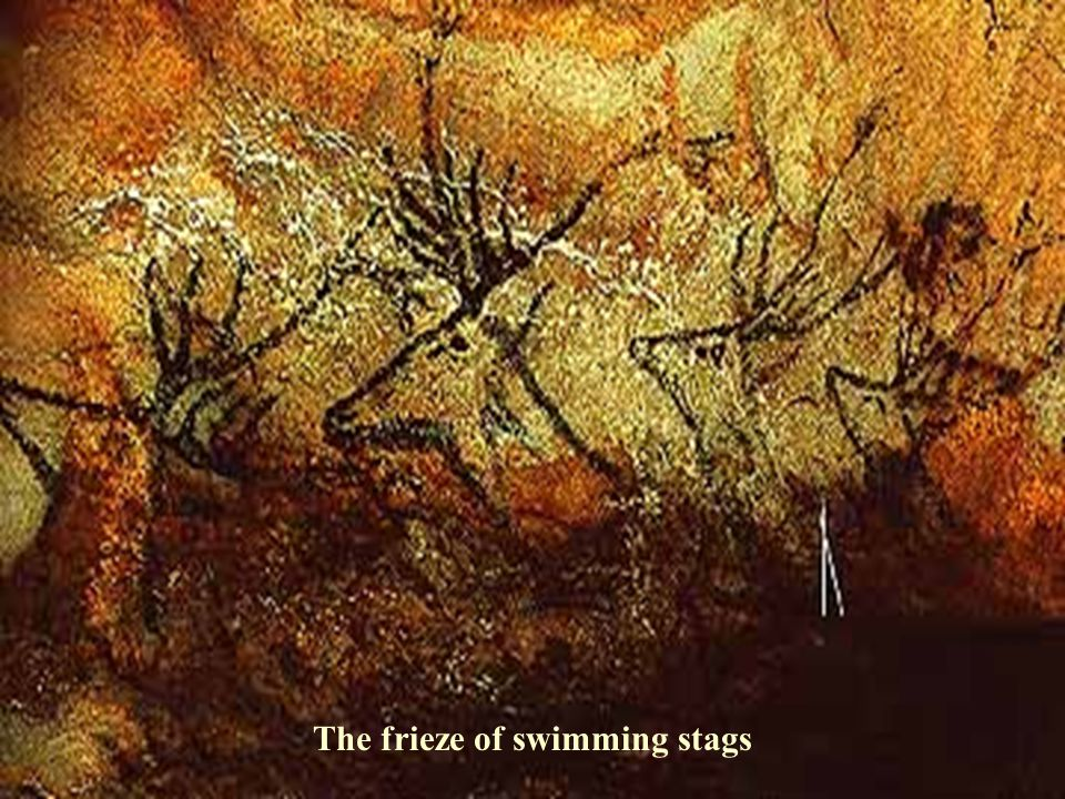 The frieze of swimming stags