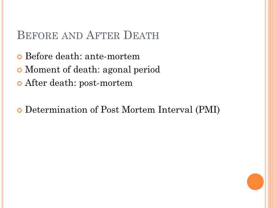 Before and After Death Before death: ante-mortem