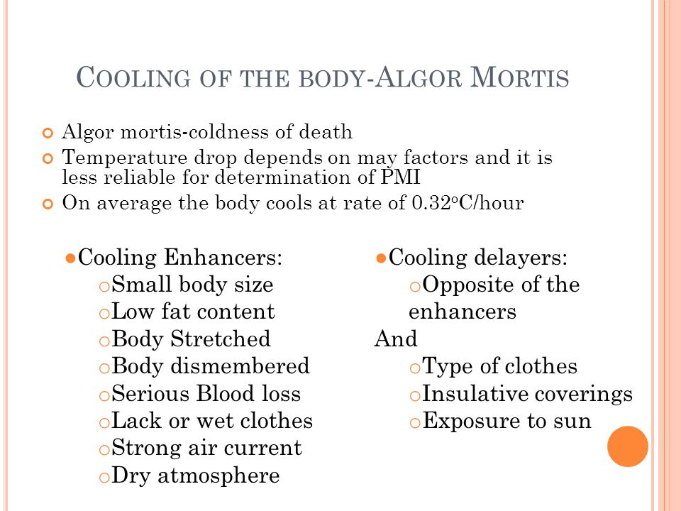 Cooling of the body-Algor Mortis