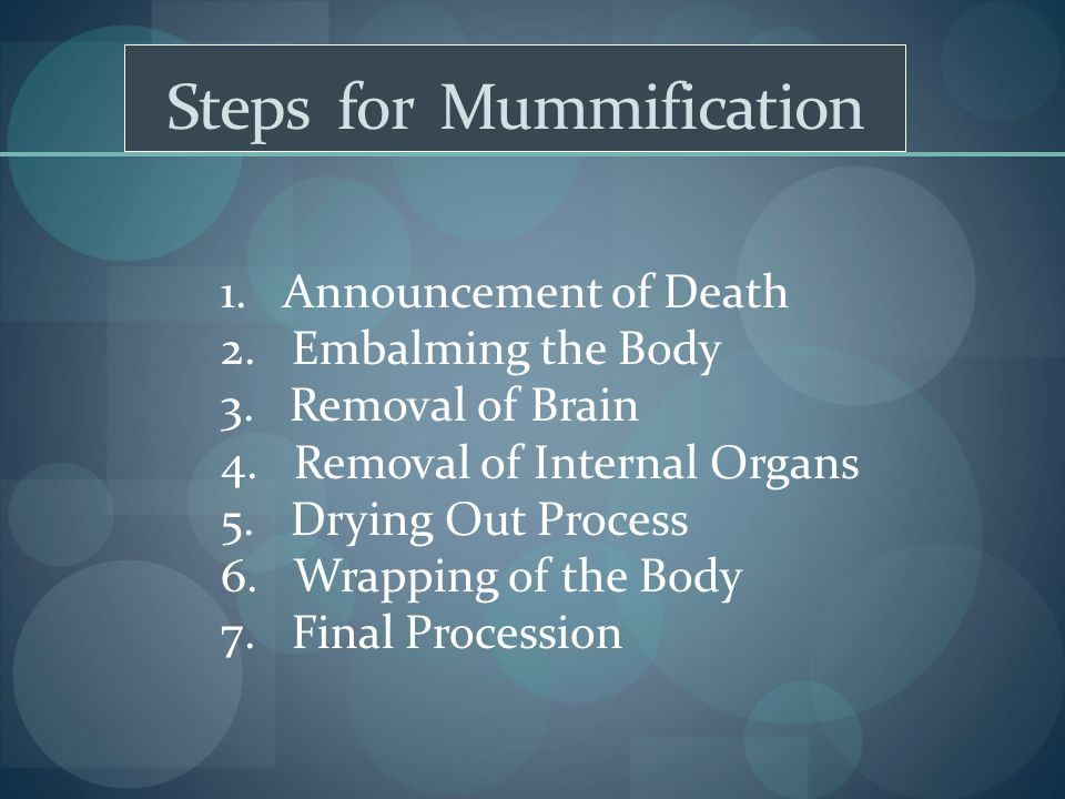 Steps for Mummification