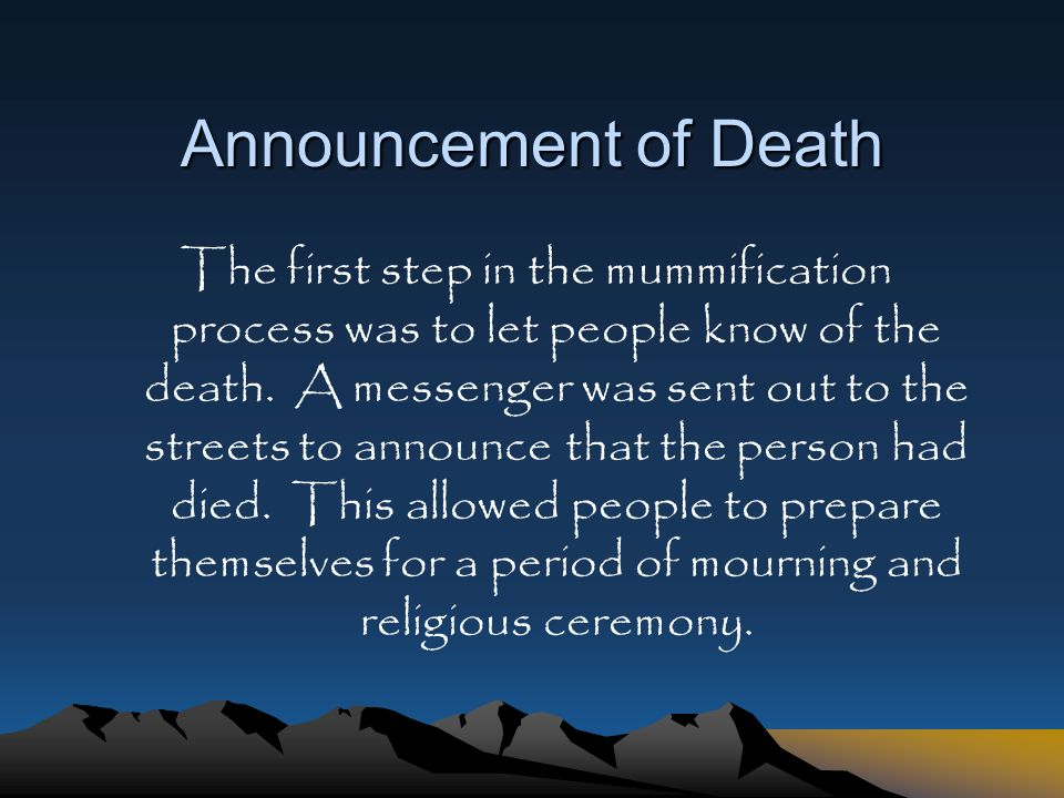 Announcement of Death