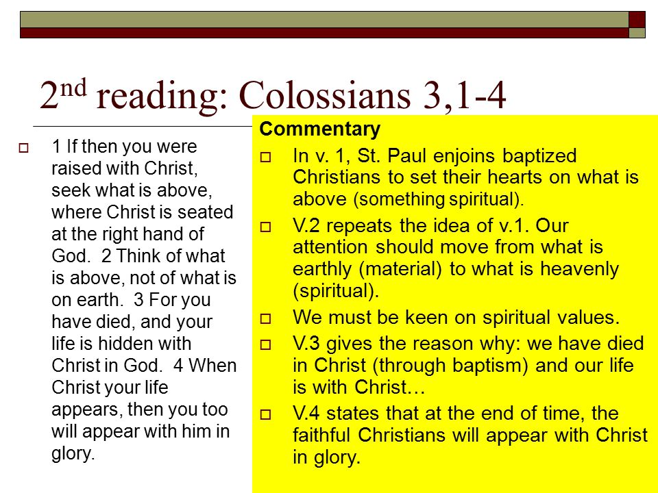 2nd reading: Colossians 3,1-4