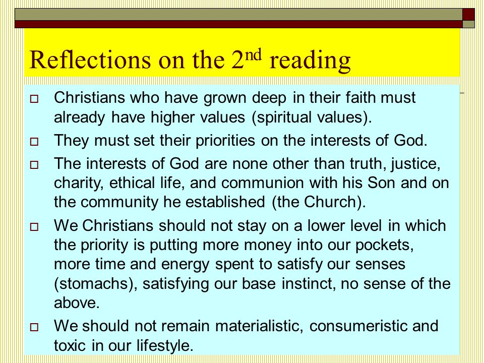 Reflections on the 2nd reading