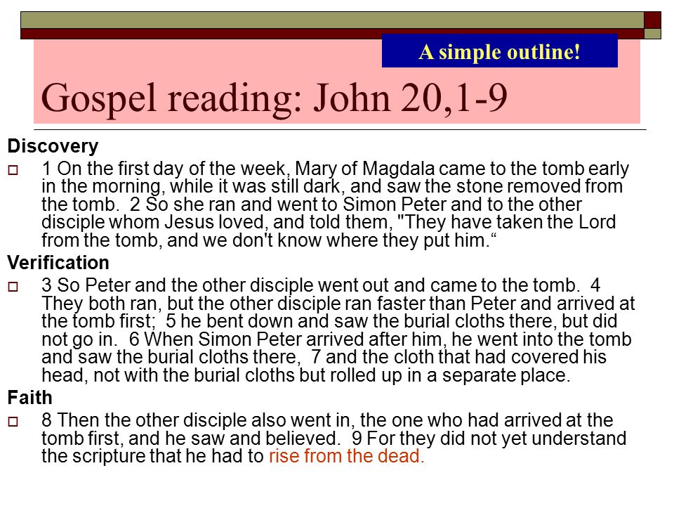Gospel reading: John 20,1-9 A simple outline! Discovery