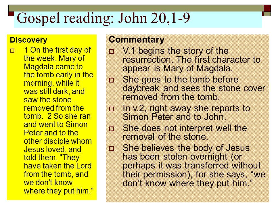 Gospel reading: John 20,1-9 Commentary