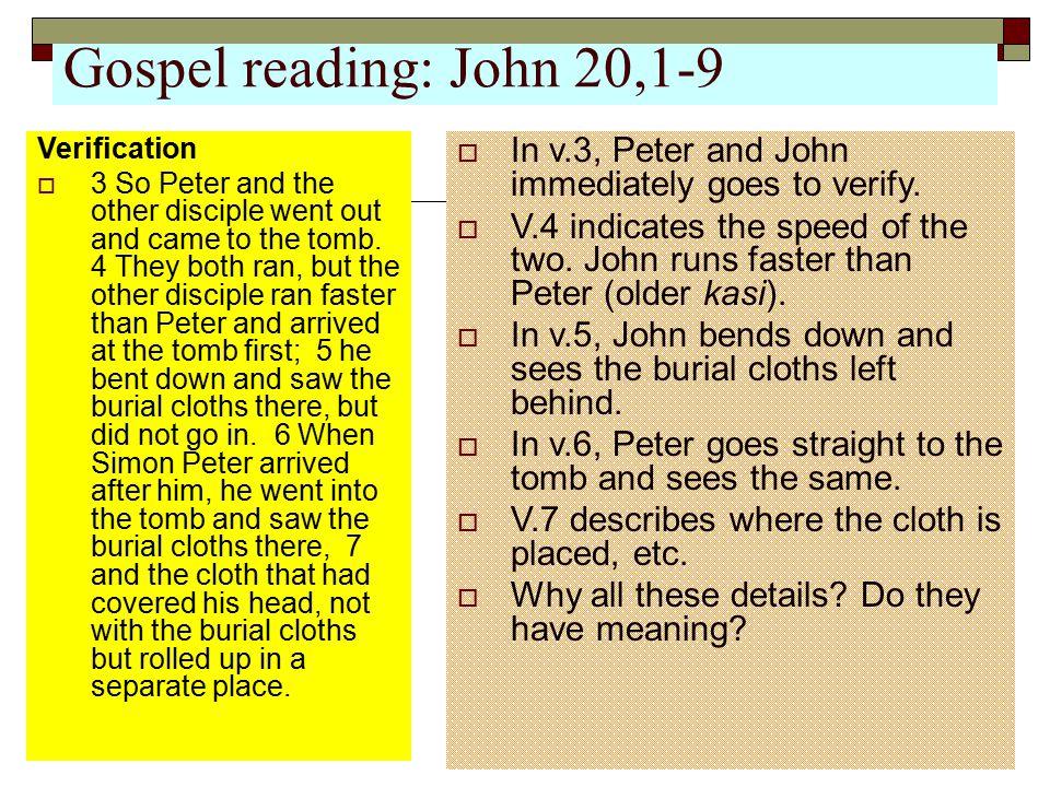 Gospel reading: John 20,1-9 Verification.