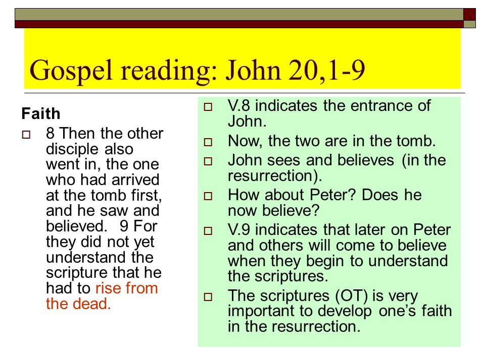 Gospel reading: John 20,1-9 V.8 indicates the entrance of John. Faith