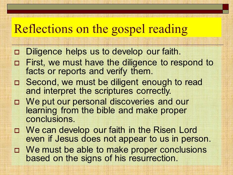 Reflections on the gospel reading