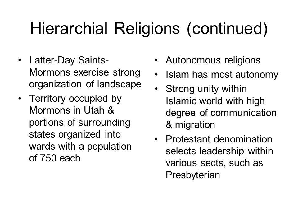 Hierarchial Religions (continued)