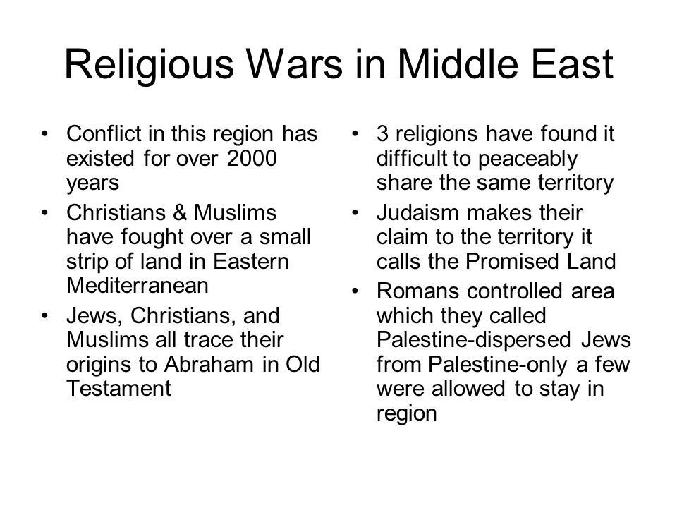Religious Wars in Middle East