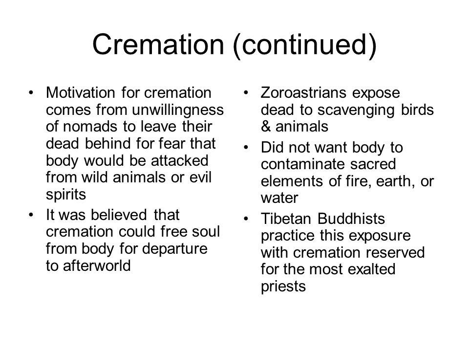 Cremation (continued)