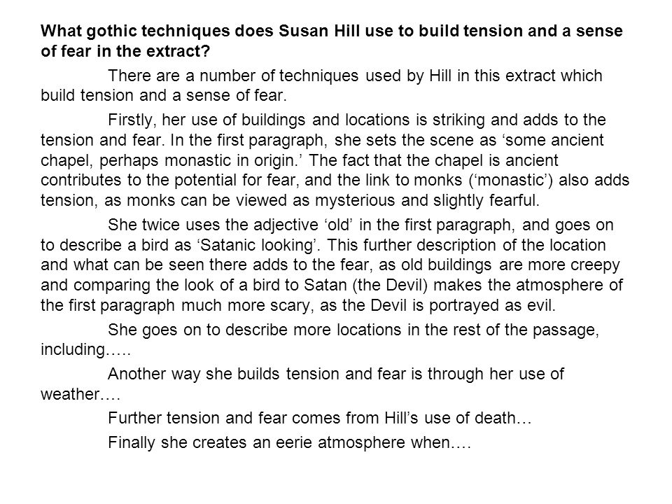 What gothic techniques does Susan Hill use to build tension and a sense of fear in the extract.