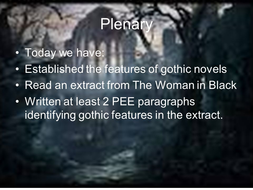 Plenary Today we have: Established the features of gothic novels