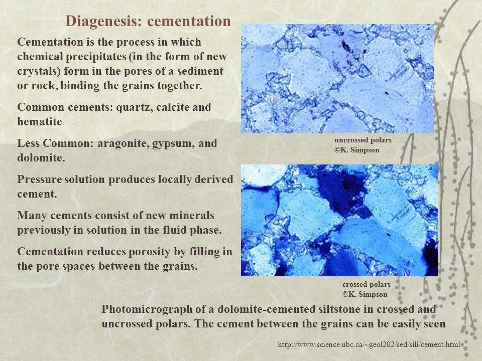 Diagenesis: cementation