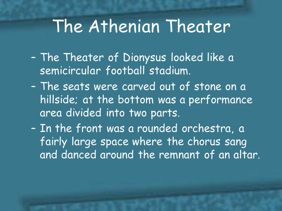 The Athenian Theater The Theater of Dionysus looked like a semicircular football stadium.