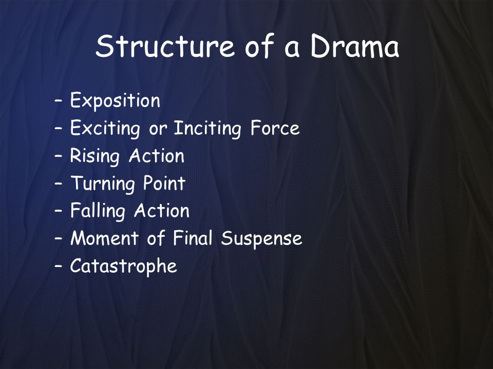 Structure of a Drama Exposition Exciting or Inciting Force