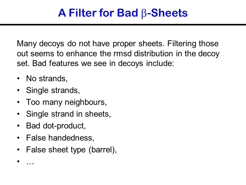 A Filter for Bad b-Sheets