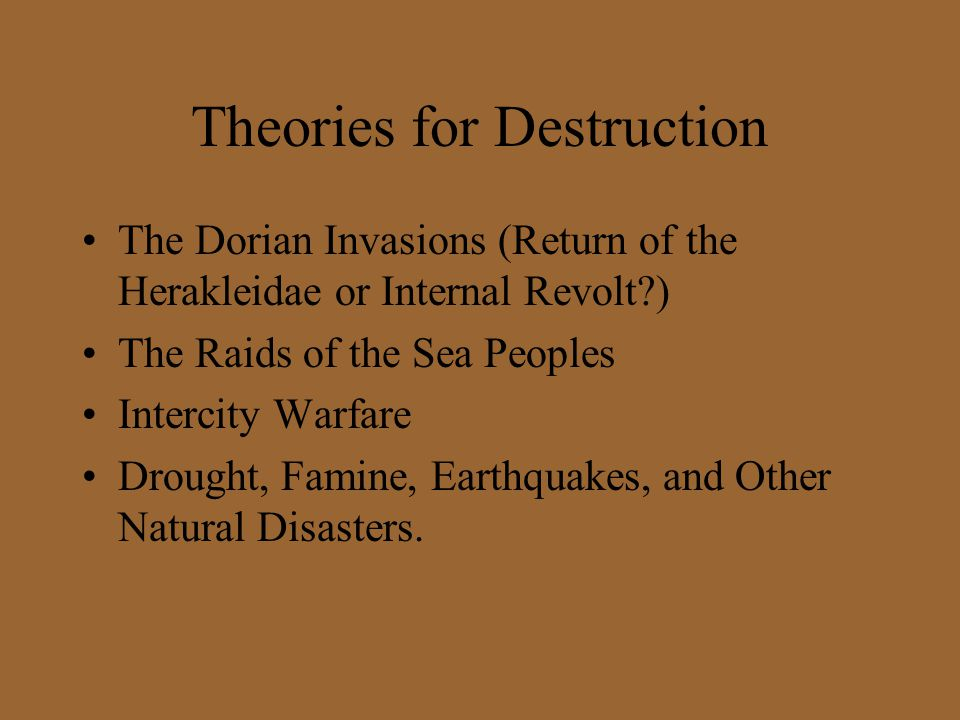 Theories for Destruction