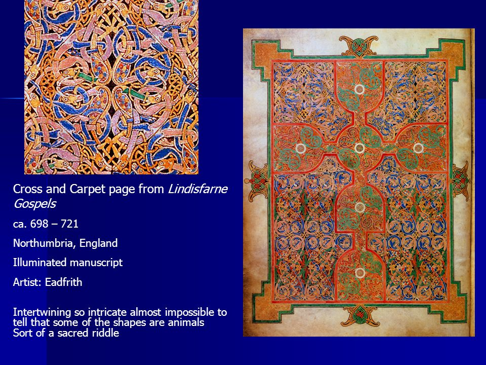 Cross and Carpet page from Lindisfarne Gospels